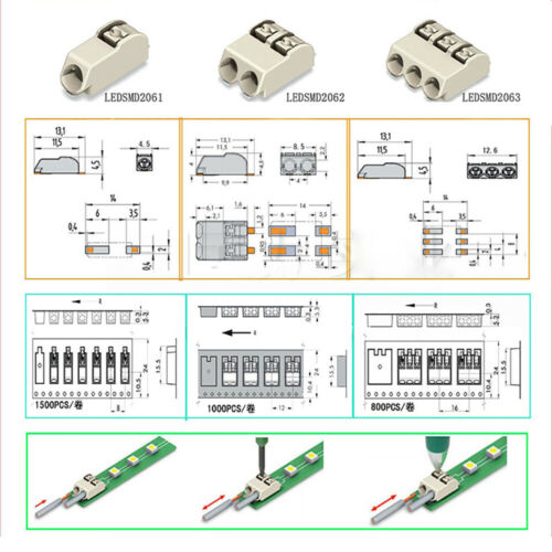 1P 2P 3P LED SMD Terminal Block For 0.2-0.75mm²  Single Core Wire AWG 24-18