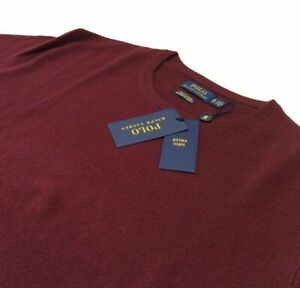 Polo Ralph Lauren 100% Cashmere Luxury Pullover Washable Knit Sweater Burgundy