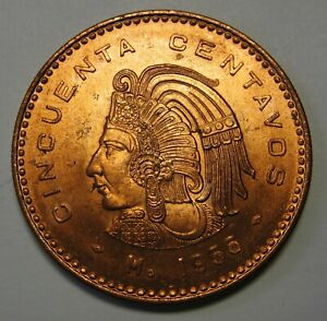 1956-Mexico-50-Cinquenta-Centavos-Grading-Gem-BU-Red-Blazing-Luster-None-Finer