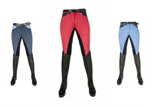 Donna Pantaloni Montala International 3 4 Alos GUARNIZIONE con HKM Pro squadra Vers. Coloreeei Nuovo