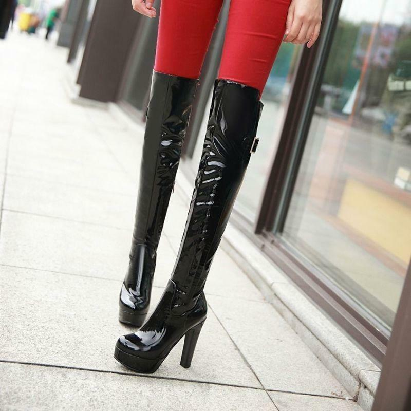 Sexy femmes Patent Leather Round Toe Over Knee High Platform High Heel bottes 10