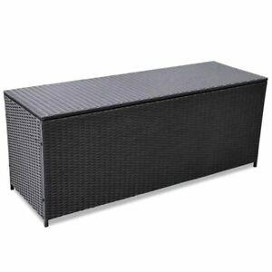 Details About Vidaxl Outdoor Storage Box Poly Rattan Black Entryway Chest Bench Organizer