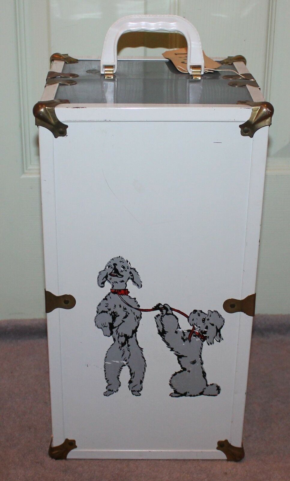 vintage metal wardrobe trunk for dolls w poodle decals case carrying rh model zweiakter com