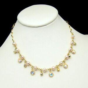 Vintage-Necklace-Elegant-Bezel-Set-Clear-Crystals-Faux-Pearls-Rhinestones