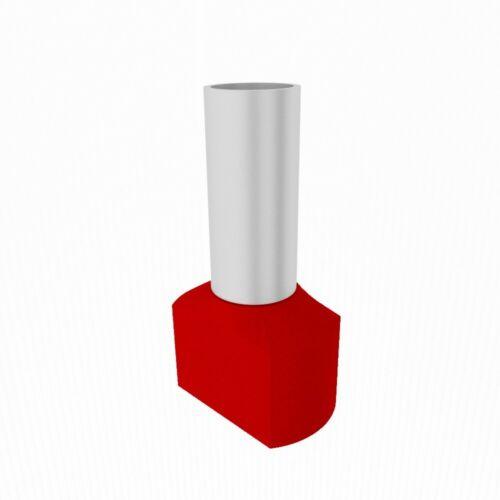10 Stück Zwillingsaderendhülsen isoliert rot 2x10mm2//14mm Endhülse Kabelschuhe