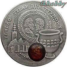 Niue Island 2009 silver 1$ Amber Route Elbląg Elblag Rare