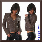 chaqueta mujer uñas polipiel marrón cremallera decorative talla 40,42,44,46