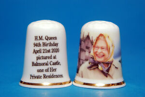 H.M.The Queen 94th Birthday Pictured At Balmoral Castle China Thimble B//112