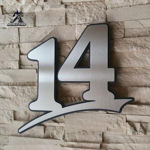 Hausnummer aus Edelstahl 14 mit Acrylglas,17cm<wbr/>,21cm,31cm,41c<wbr/>m,51cm Anthrazitgrau