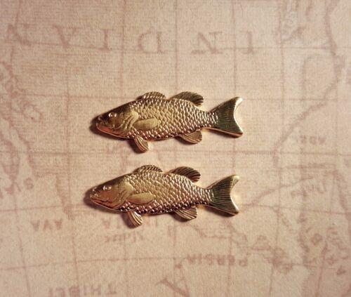 2 GB8643 Raw Brass Trout Fish