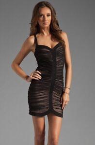 BCBG-MAXAZRIA-Keylene-Ruched-Sheer-Black-Combo-Nude-Cocktail-Dress-Sz-XS-New