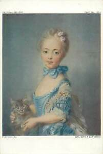 Artist-signed-painting-Postcard-Perronneau-Girl-with-a-cat