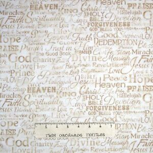 Details about Religious Fabric - Faith God Christian Words Beige -Timeless  Treasures YARD