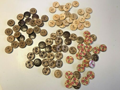 10pcs 15mm Printed Coconut Shell Buttons 2 Holes Sewing Scrapbooking DIY Craft