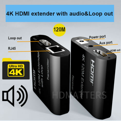 4K HDMI Extender 120M with Loop Audio 1080P HDMI Extender Cable 60M Over cat5e//6