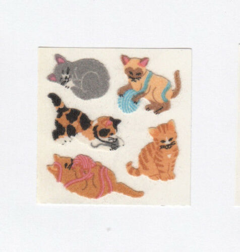 You Choose Vintage Sandylion Fuzzy Cat Kitty Kitten Stickers Calico Tabby