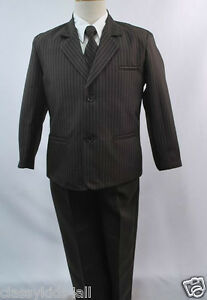 New Baby Toddler & Boy Formal Tuxedo Suit Set New born to 12 Brown Pin Stripe