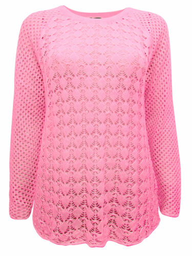 CELLBES CORAL OPEN KNIT SWEATER//JUMPER FREE P/&P