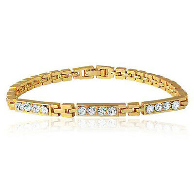 Mahi Gold Plated Shinning Geometry Bracelet with Crystal for Women BR1100192G