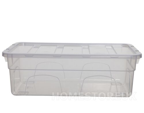 SHOE BOX WITH LID CLEAR PLASTIC LADIES PAIR STORAGE CONTAINER DRAWER STACKABLE