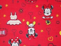 Disney Baby Minnie Mouse On Red Quilting Fabric Camelot 100% Cotton Fq Bty
