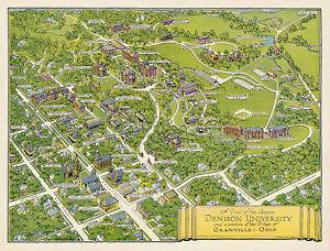 denison university campus map Historical Denison University Campus Map Wall Art Print Poster denison university campus map