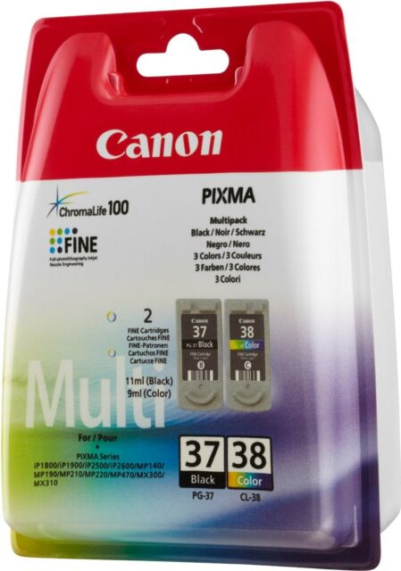 Canon PG-37 & CL-38 Black & Colour Original OEM PIXMA Inkjet Cartridges