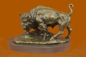 Firmado-American-Buffalo-Toro-Bronce-Escultura-Por-Barye-Encendido-Marmol-Base