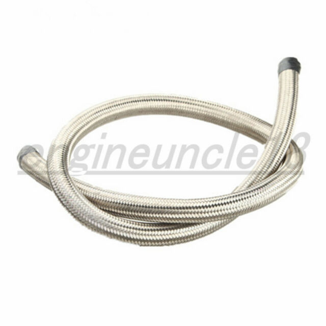 Silver 10 Feet 10AN Fuel Line Hose Oil Gas Line AN10 AN-10 Nylon Stainless Steel