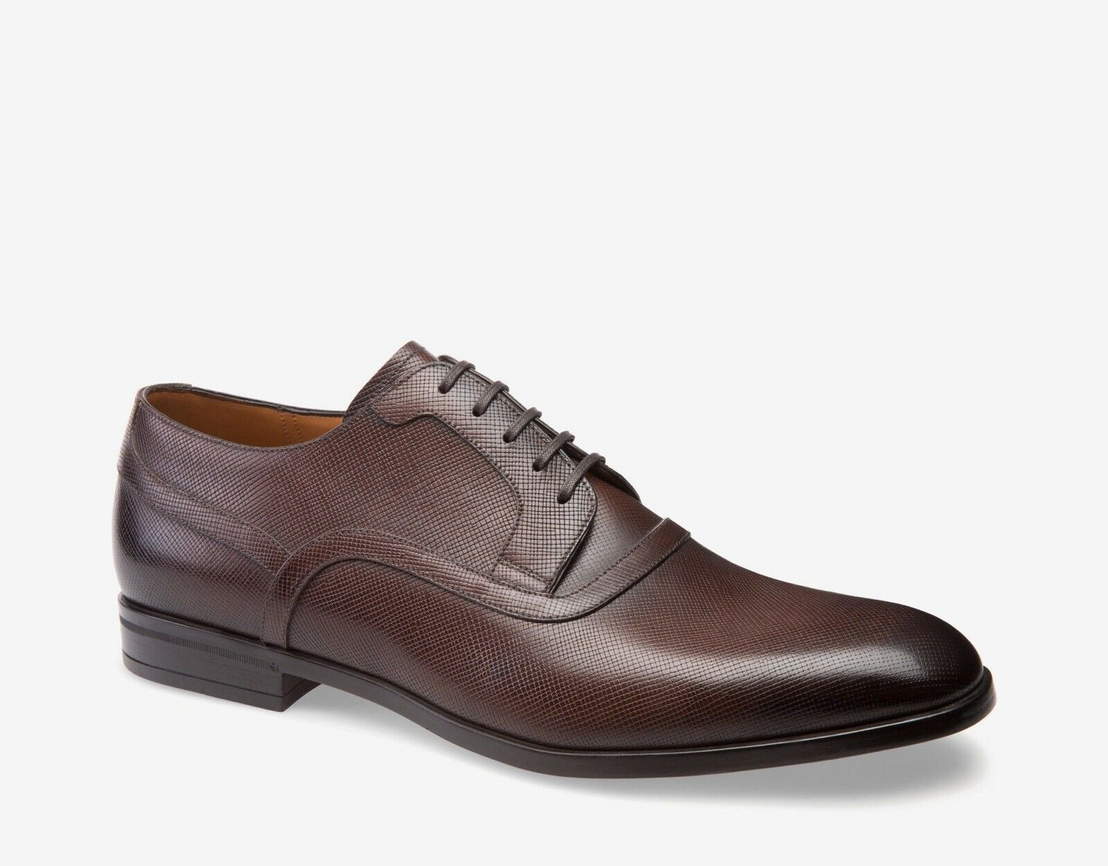 New In Box Bally 'Lauron' Brown Saffiano Leather Derby Lace Ups 10/11 5.00 Scarpe classiche da uomo