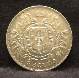 1915-Portugal-silver-escudo-large-early-Republic-crown-nice-high-grade-KM-564