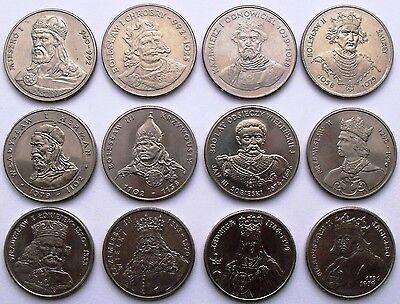 KINGS DUKES QUEEN POLAND SET OF 12 COMMEMORATIVE COINS  50 100 500 ZL