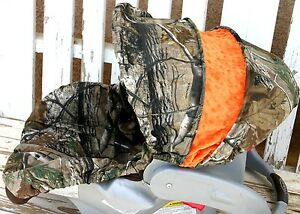 Realtree camo and orange minky infant car seat cover and hood / canopy cover