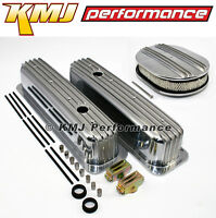 Sbc Chevy 350 Finned Center Bolt Vortec Aluminum Valve Covers & Air Cleaner Kit