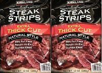 2 X Kirkland Steak Strips (jerky) - 12 Oz Extra Thick Premium Cut Top Round Beef