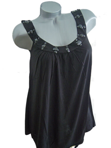 TUNIKA Top Long Shirt  Minikleid Glitzerstein Träger Ärmellos schwarz 36 38