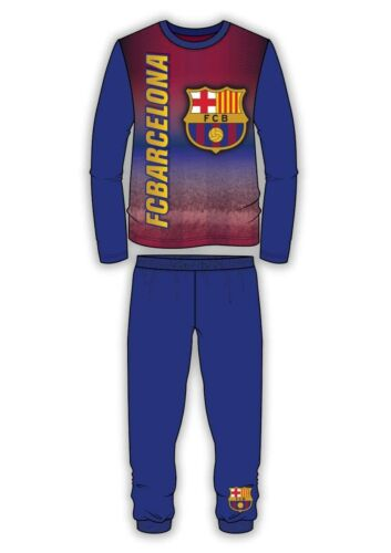 Boys Kids Barcelona Pyjamas Nightwear Long Sleeve PJs Barca 4 to 12 years