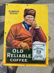 Early Old Reliable Coffee Tin Litho Sign Great Graphics H.D. Beach Marked