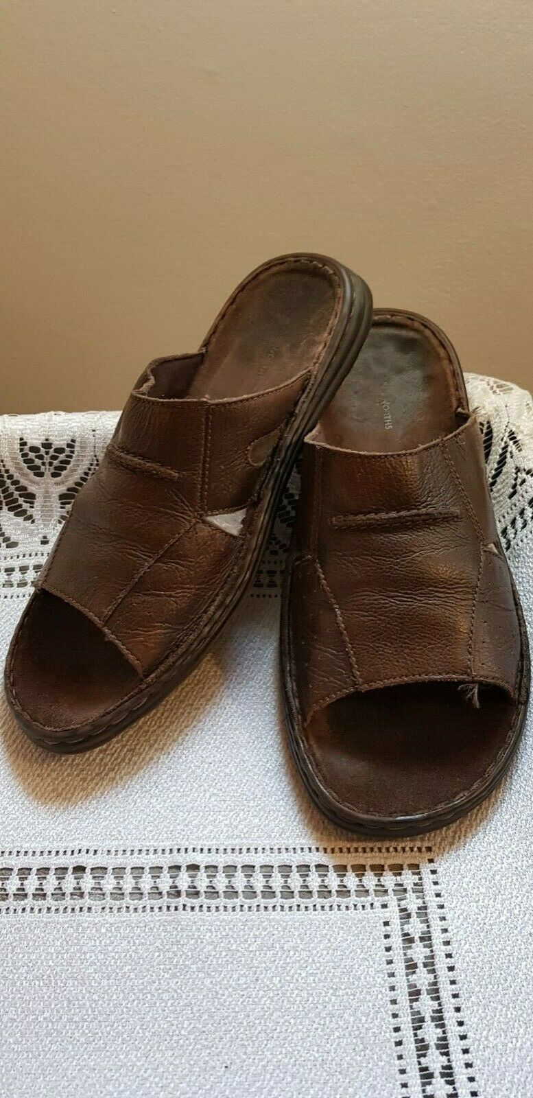 WOOLWORTHS Brown Soft Leather Men's Slippers -size UK 12  EU 46-