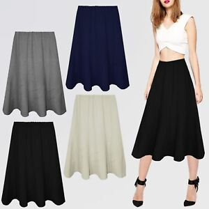 efa24bc8ba2 Image is loading WOMENS-LADIES-MID-LENGTH-SKIRTS-ELASTICATED-FLARED-FANCY-