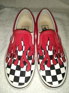 Red-Drip Checkered Slip-On Vans | eBay