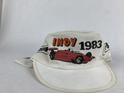 Vintage 90s Deadstock Indy 500 Racing Nascar Paintbrush Splash Logo Athletic Snapback Hat Baseball Cap