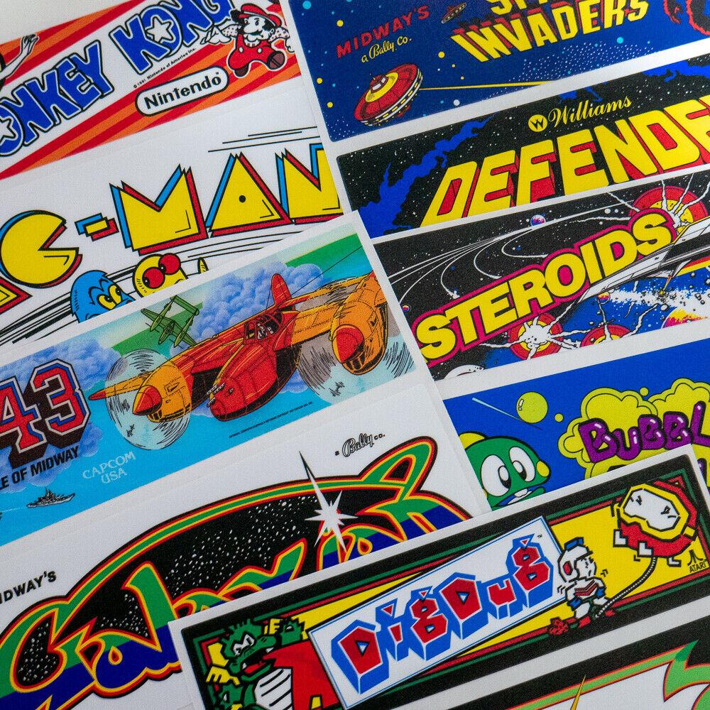 10 x Marquee Vinyl Stickers Laminated Retro Arcade Game Classic Theme Bundle