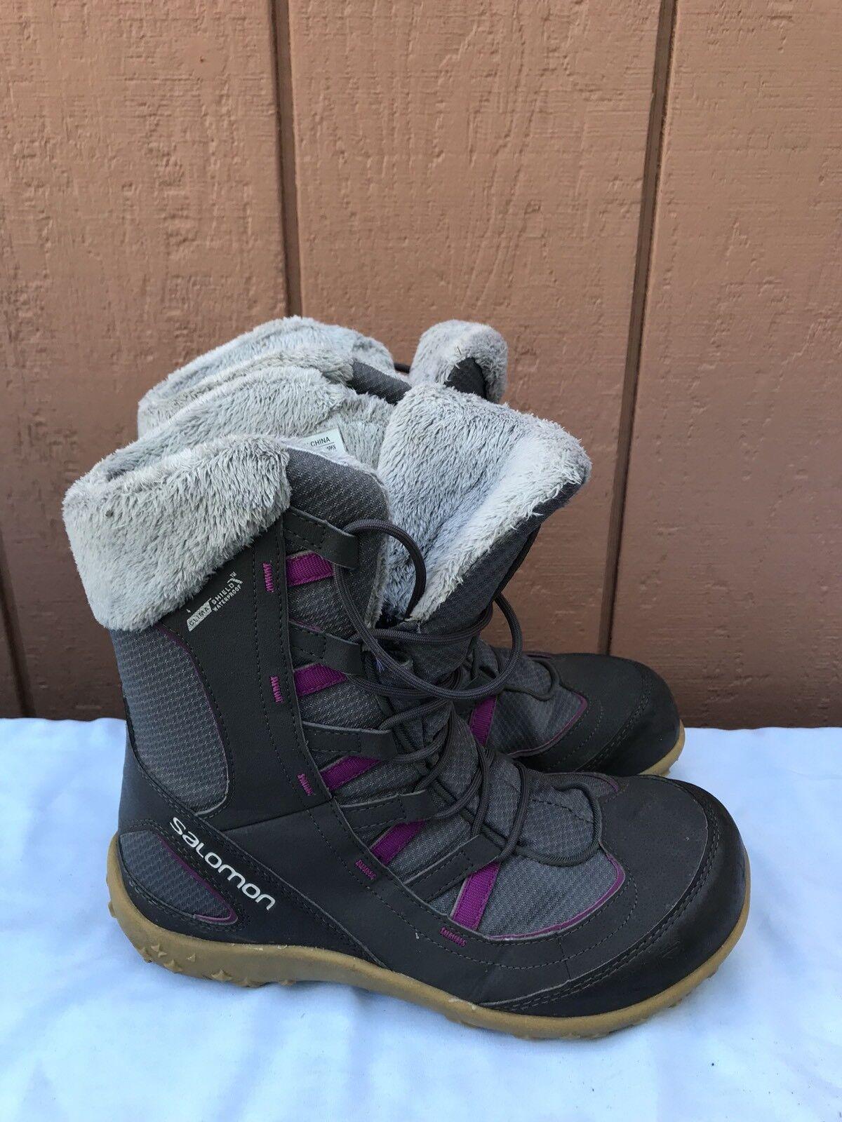 EUC Winter Salomon Women US 7.5 Winter EUC Boots Thinsulate Faux Fur Contagrip Sole Gray A7 6f64f8