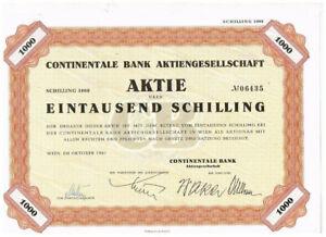 Continentale Bank AG, Wien 1961, 1000 Schilling, VF+
