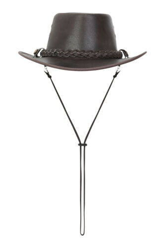 Australian Style Leather Cowboy Bush Hat Brown And Black With Free Chin Strap