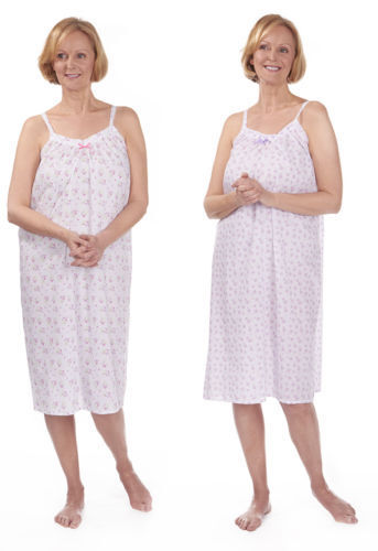 Ladies sleeveless poly cotton nightdress nightwear with thin shoulder straps
