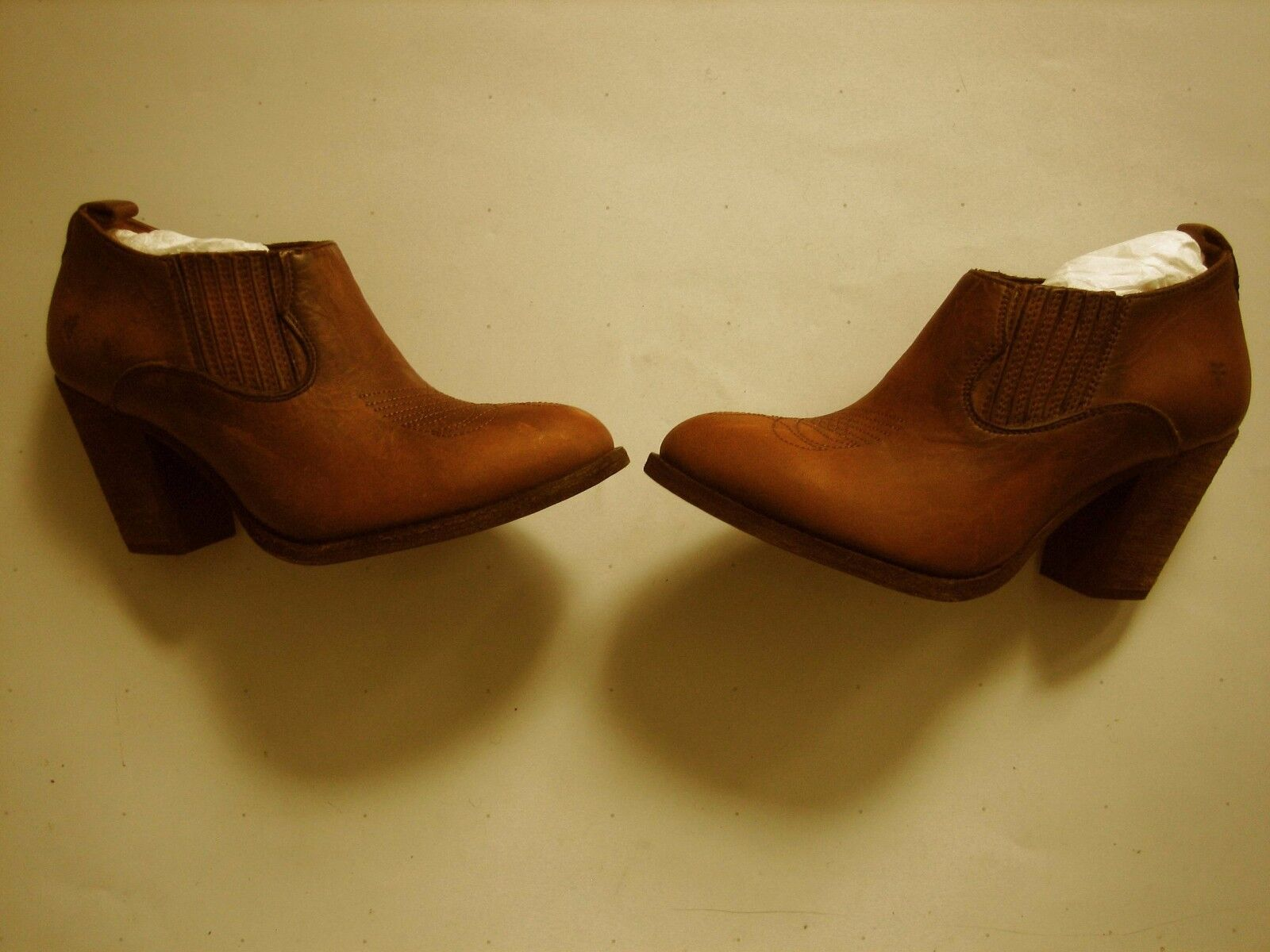 New  Pull Frye Ilana Pull  On Pelle Donna Shooties Booties Shoes Cognac 6 B 05514a
