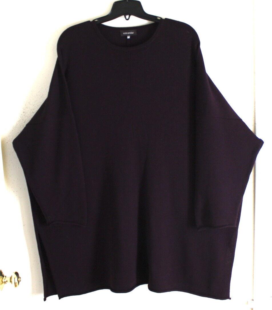 Eskandar O S Delicious PURPLE Merino Boxy 36 VERY LONG Tunic Oversized Sweater