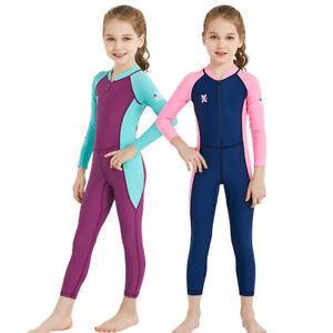 Kids-Wetsuit-Long-Sleeves-One-Piece-Diving-Suit-Children-Rash-Guard-Swimwear-NEW